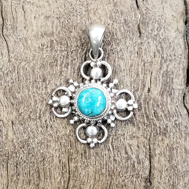 Dorje and Turquoise Silver Pendant 1.25""