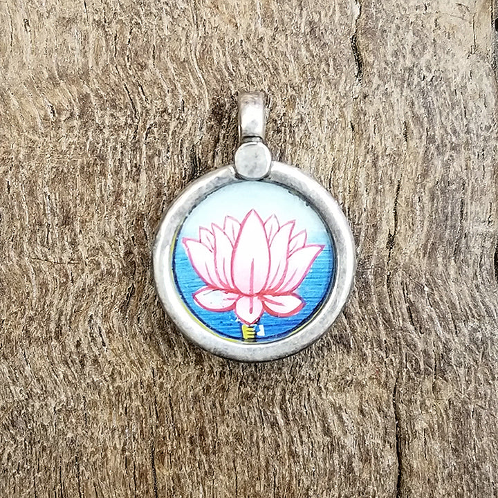Painted Lotus in Silver Pendant .85""