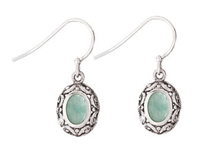 Jade Scroll Silver Earring
