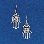 Silver and Iolite Hamsa Earring