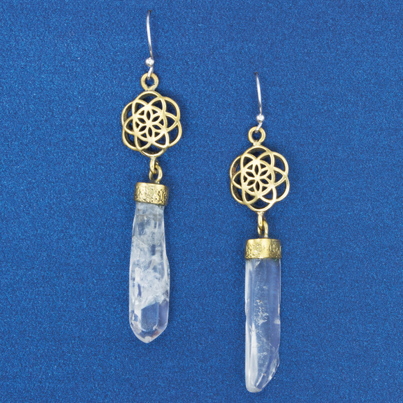 Seed Of Life With Crystal Earring