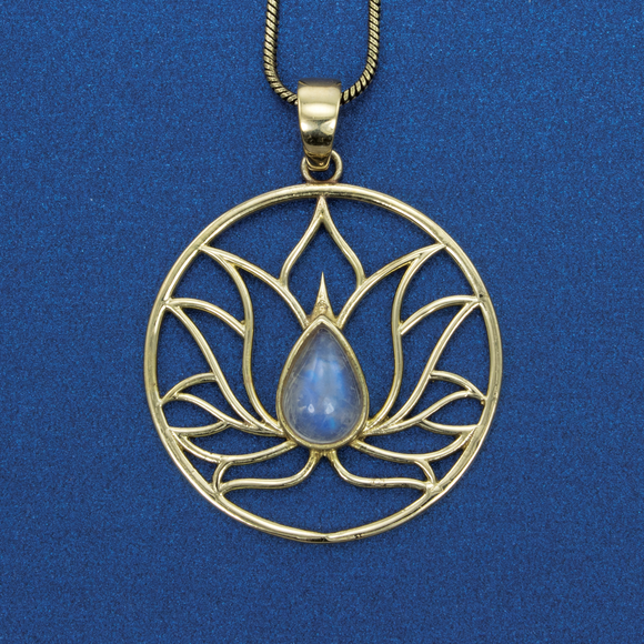 Lotus and Moonstone Necklace