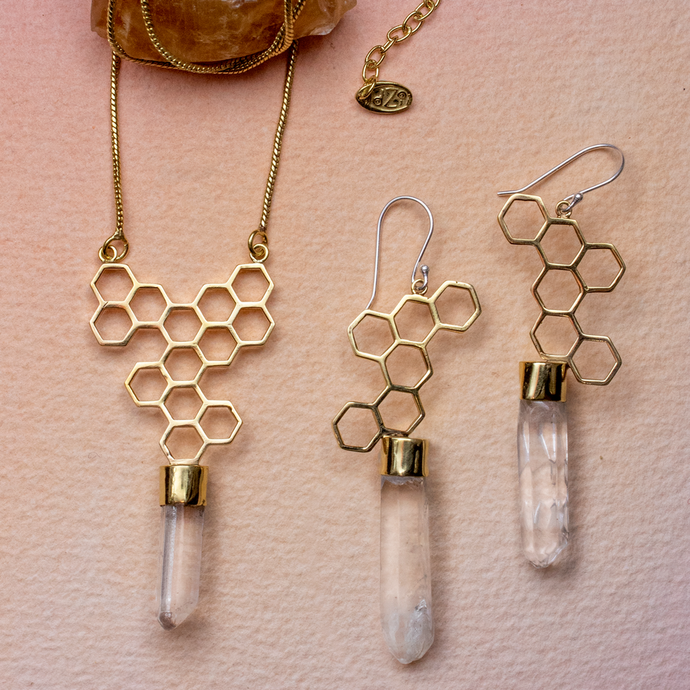 Honey Drop and Quartz Necklace