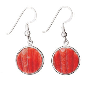 Red Round Shell Silver Earring