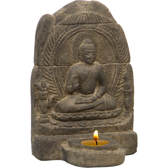Buddha Tealight Holder in Grey Volcanic Stone 8""