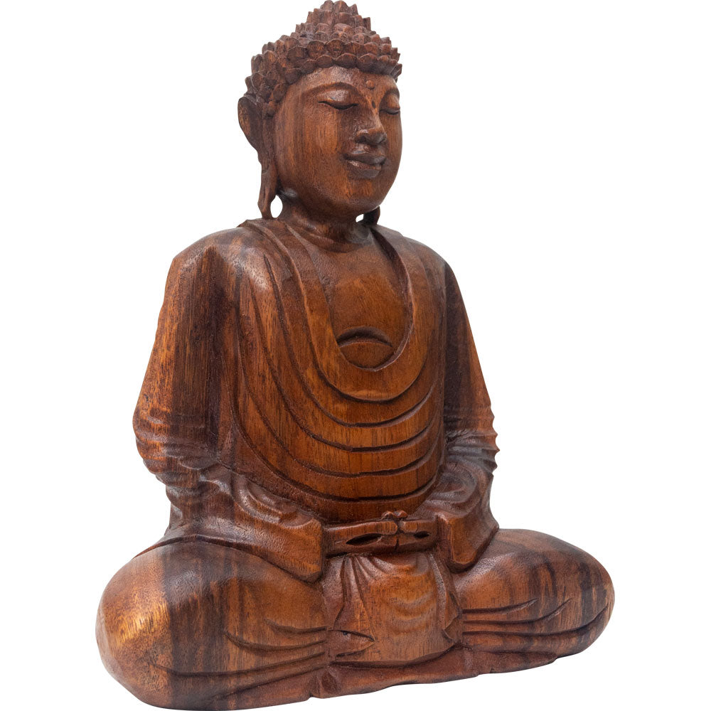 Buddha Hand-Carved Wood 12""