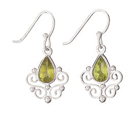 Teardrop Peridot Drop Silver Earring