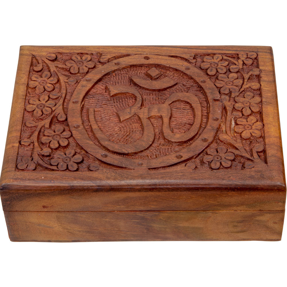 Om Velvet Lined Wooden Box
