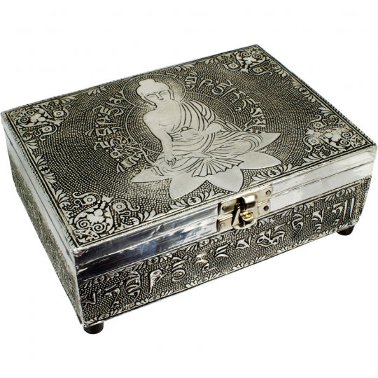Medicine Buddha White Metal Box