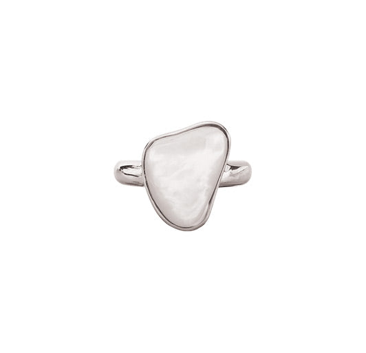Mother of Pearl Shell Silver Ring, sz 6
