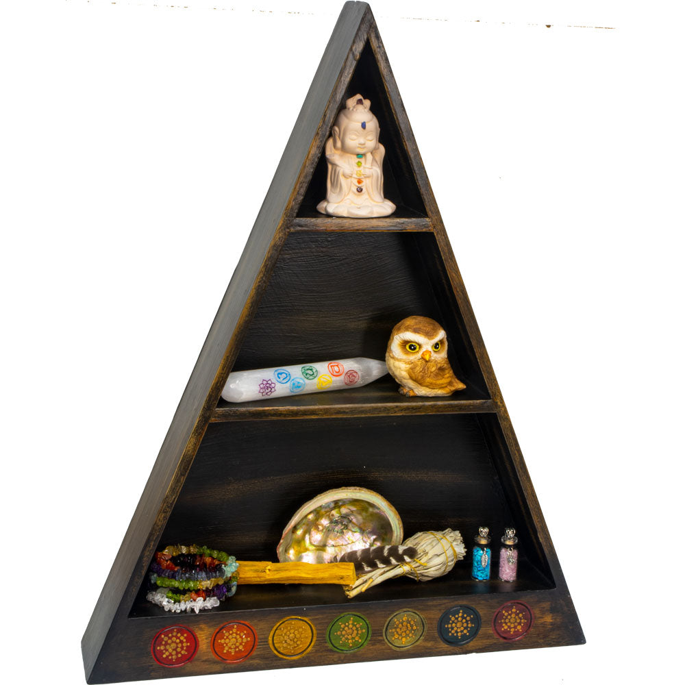 Wooden Altar Shelf with Chakra Symbols