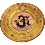 Wooden & Copper Om Incense Holder