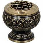 Brass Burner with Engraved Flowers
