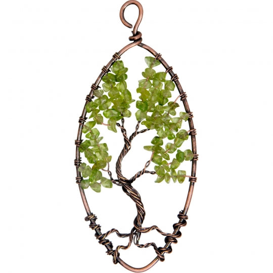 Copper Tree Wood Pendant w/ Peridot