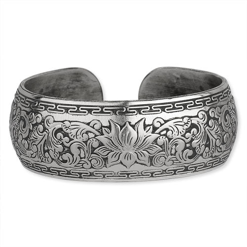 Wide Carved Lotus Cuff