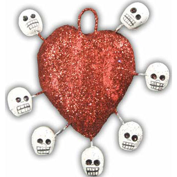 Heart with Skulls Ornament