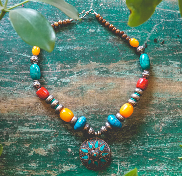 Beaded Nepal Necklace with Medallion