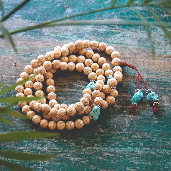 Lotus Seed and Turquoise Mala