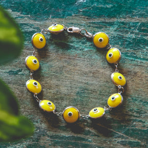 Sterling Silver Yellow Bead Evil Eye
