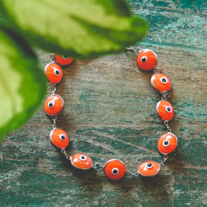 Sterling Silver and Orange Bead Evil Eye Bracelet