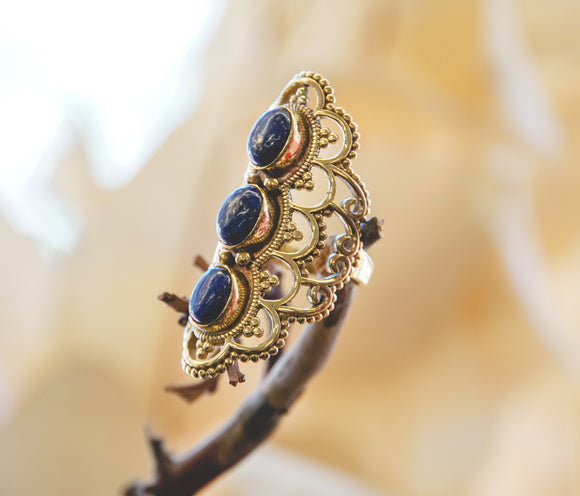 Sodalite Triple Stone Ring