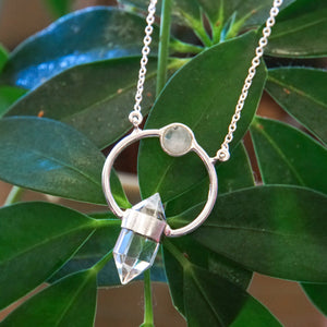 Sterling Silver Quartz & Moonstone Necklace