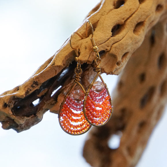 Teardrop Beaded Red Earring