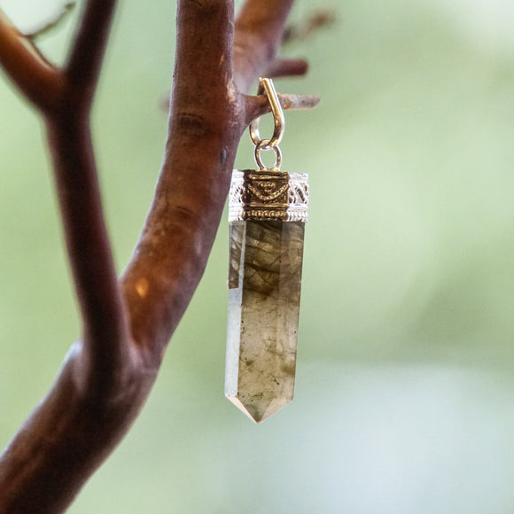 Labradorite Crystal Point Pendant