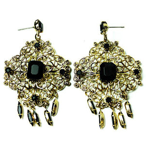 Miss Ellie Art Deco Brass Earrings