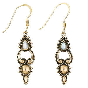 Mother of Pearl Earring Teardrop Bronze Earring