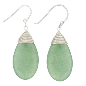 Aventurine Silver Wrapped Earring