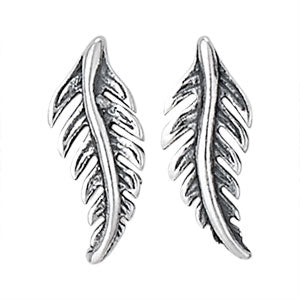 Feather Silver Stud Earring
