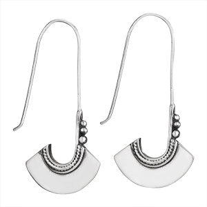 Long Wire & Paddle Silver Earring