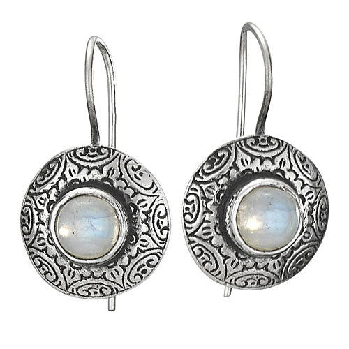 Rainbow Moonstone Spiral Silver Earring