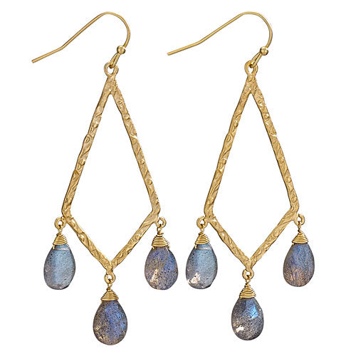 Labradorite & 18K Gold Plated Earring