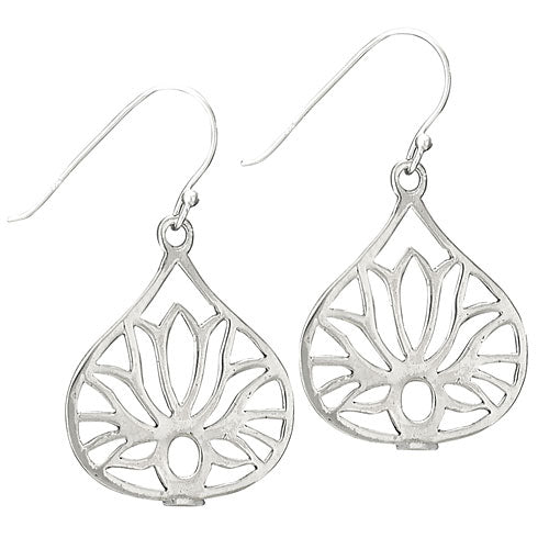 Lotus Teardrop Silver Earring