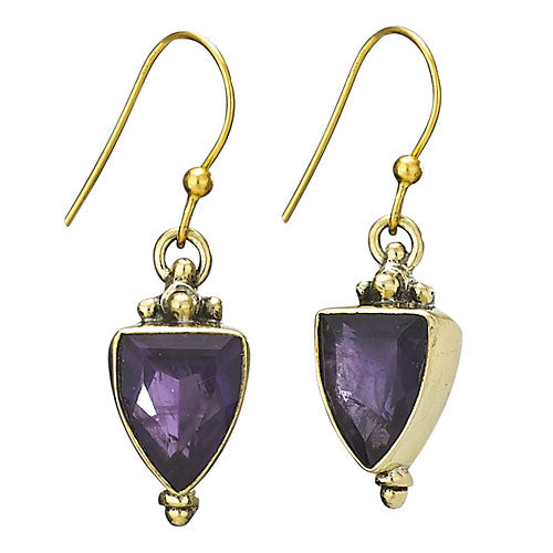 Amethyst Faceted Gold Plated Earring