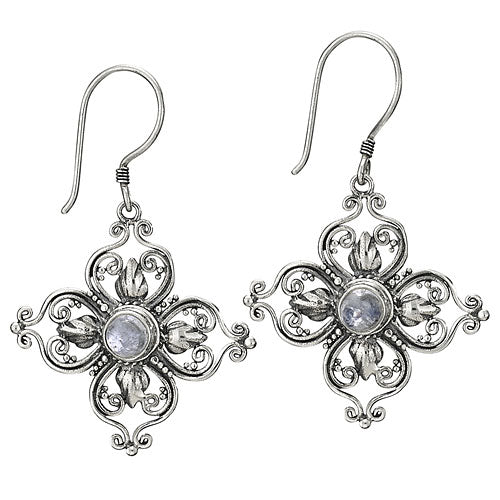 Moonstone Floral Silver Earring