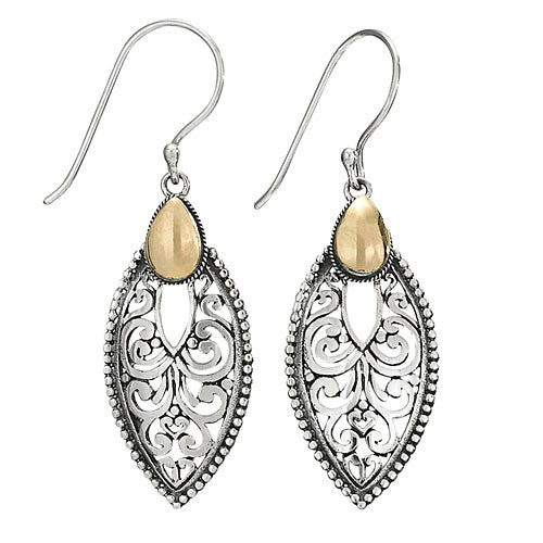 Teardrop Scroll & Gold Center Silver Earring