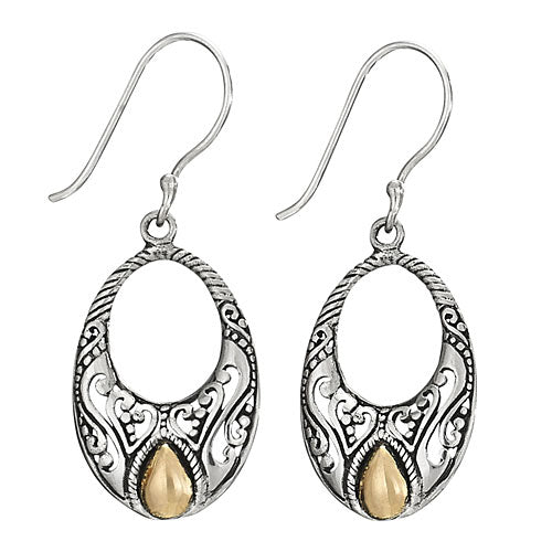 Ornate Silver and Gold Oval Earring