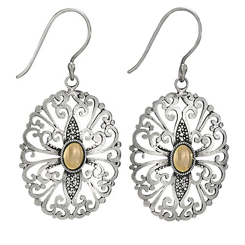 Open Scroll and Gold Center Silver Earring