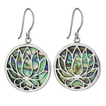 Lotus & Paua Shell Silver Earring