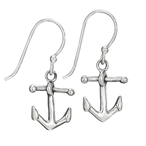 Anchor Drop Silver Earring