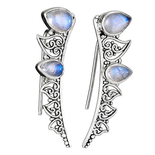 Double Moonstone Silver Earring