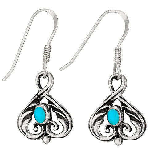 Turquoise and Spade Silver Earring