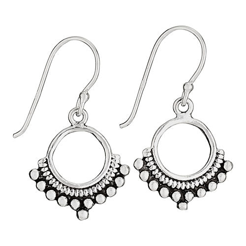 Decorative Circle Silver Earring
