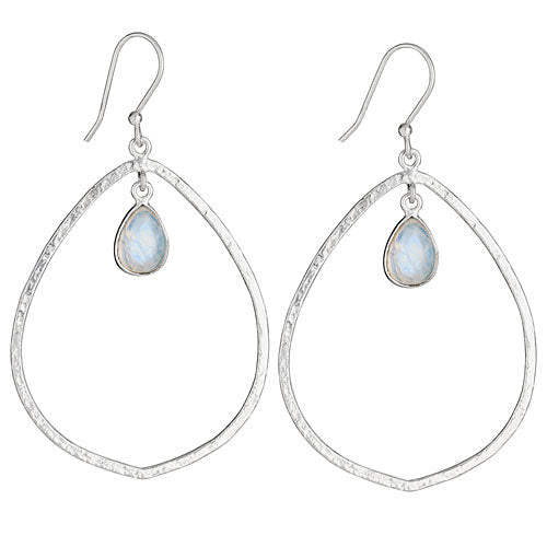 Moonstone Hammered Ring Silver Earring