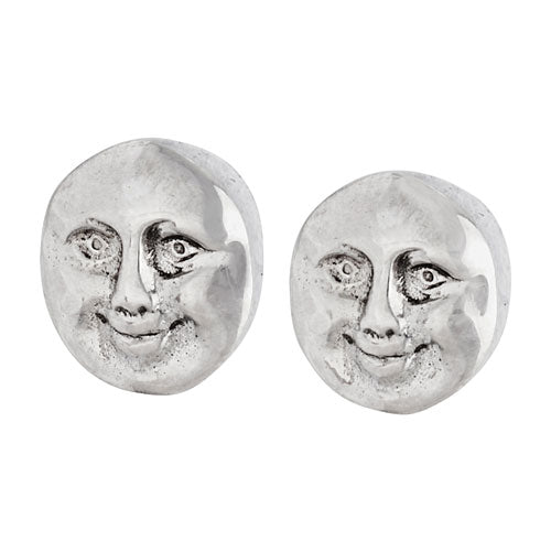 Happy Moon Silver Stud Earring