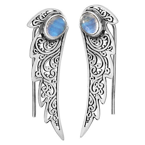 Moonstone Wing Silver Earring