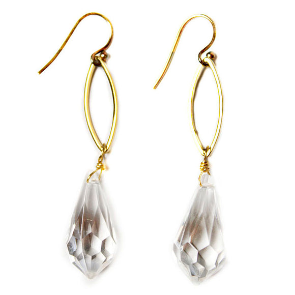 Gold Plated Faceted Crystal Earrings